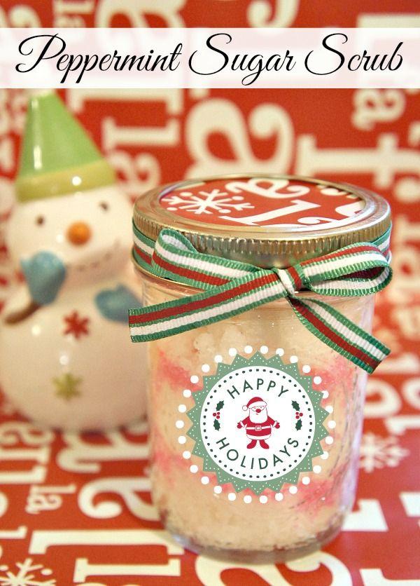 Peppermint Sugar Scrub in a jar DIY from TheRebelChick.com #Christmas