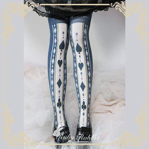 Ruby Rabbit ~Alice Poker Cards~ Lolita Tights - My Lolita Dress