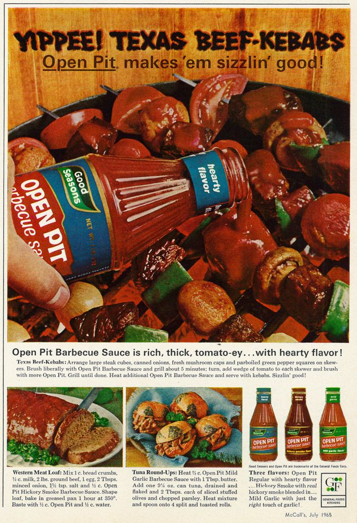 1965 Food Ad  Good Seasons Open Pit Barbecue Sauce