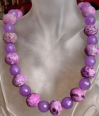 Purple Jasper c/w Purple Jade Necklace  23lg 58cm  by camexinc, $45.00