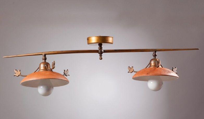 Plafoniera Ottone Esterno : Plafoniera in ottone lasciato al naturale piatti ceramica di