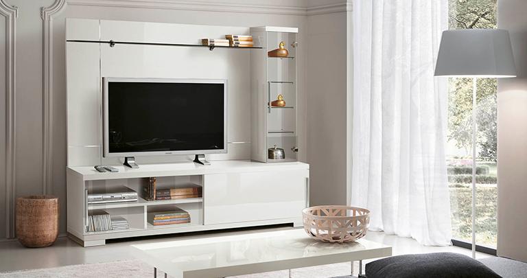 meuble tv glossy composition mural bois mdf laqu blanc - Meuble Tv Blanc Glossy