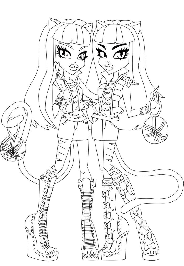Twin Purrsephone And Meowlody The Monster Coloring Pages