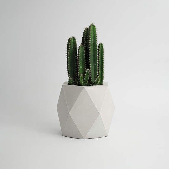 Geodesic Concrete Planter: ORE IN GRAY Geometric Concrete Vase Planter Pot