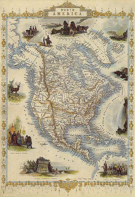 Details about 1800\'S MAP NORTH AMERICA CANADA UNITED STATES ...