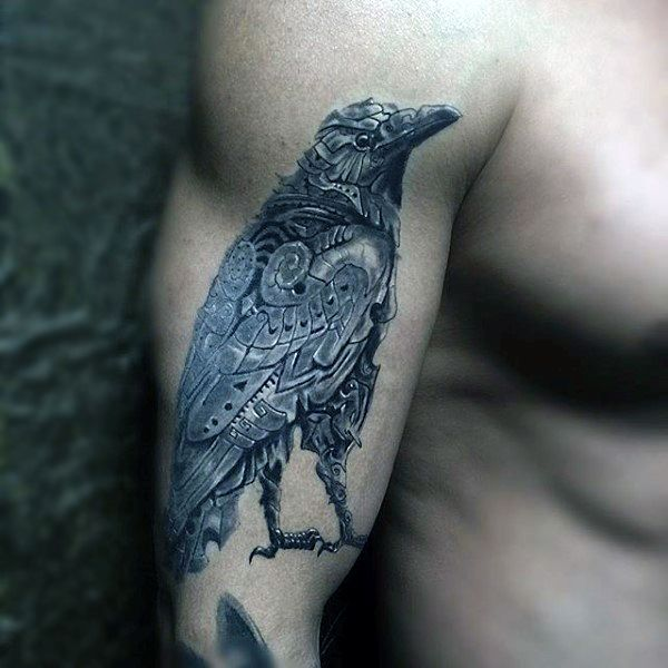 3ba73791b 100 Raven Tattoo Designs For Men - Scavenge Sooty Bird Ink | Tattoos ...