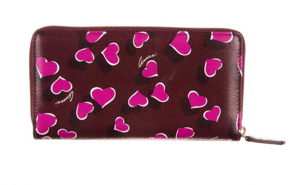 Gucci red pink heartbeat print leather zippy long wallet