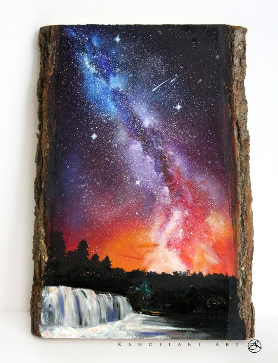surprising Diy Galaxy Wall Art Part - 5: Wood Slice Painting Milky Way Galaxy Art Rainbow by KanoelaniArt More