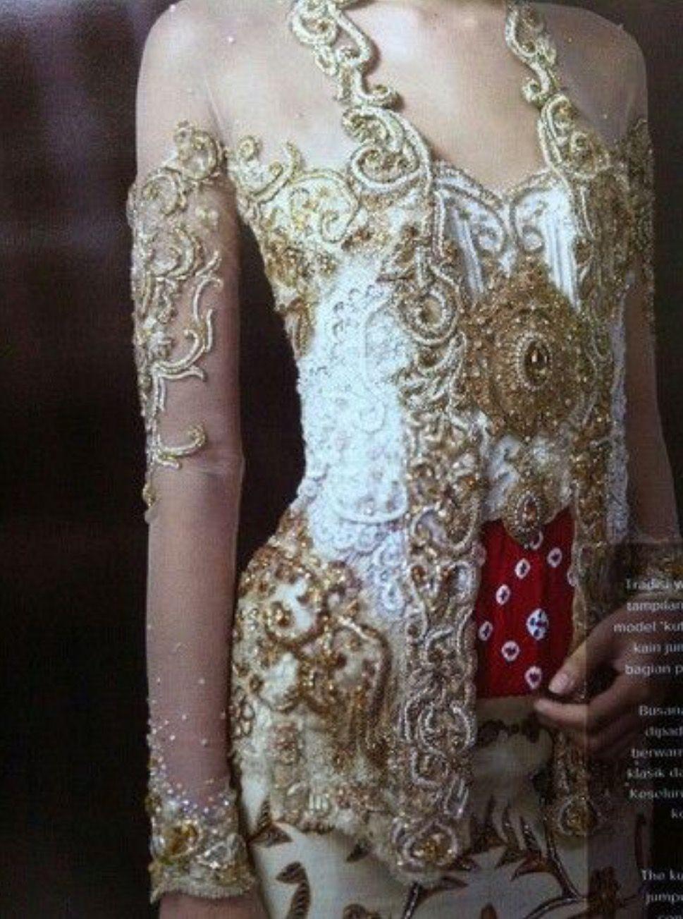 Kebaya, kutu baru, brokat, emas, putih, beads, stagen