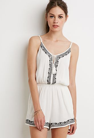 Embroidered Cami Romper | Forever 21 | #styleguide