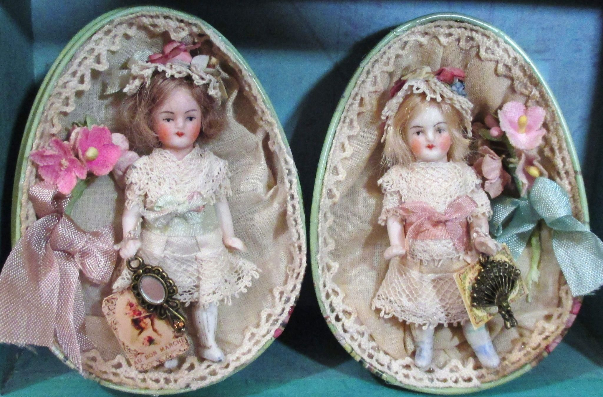 """Two Tiny 3"""" all Bisque Antique German Miniature dollhouse dolls in tin egg"""