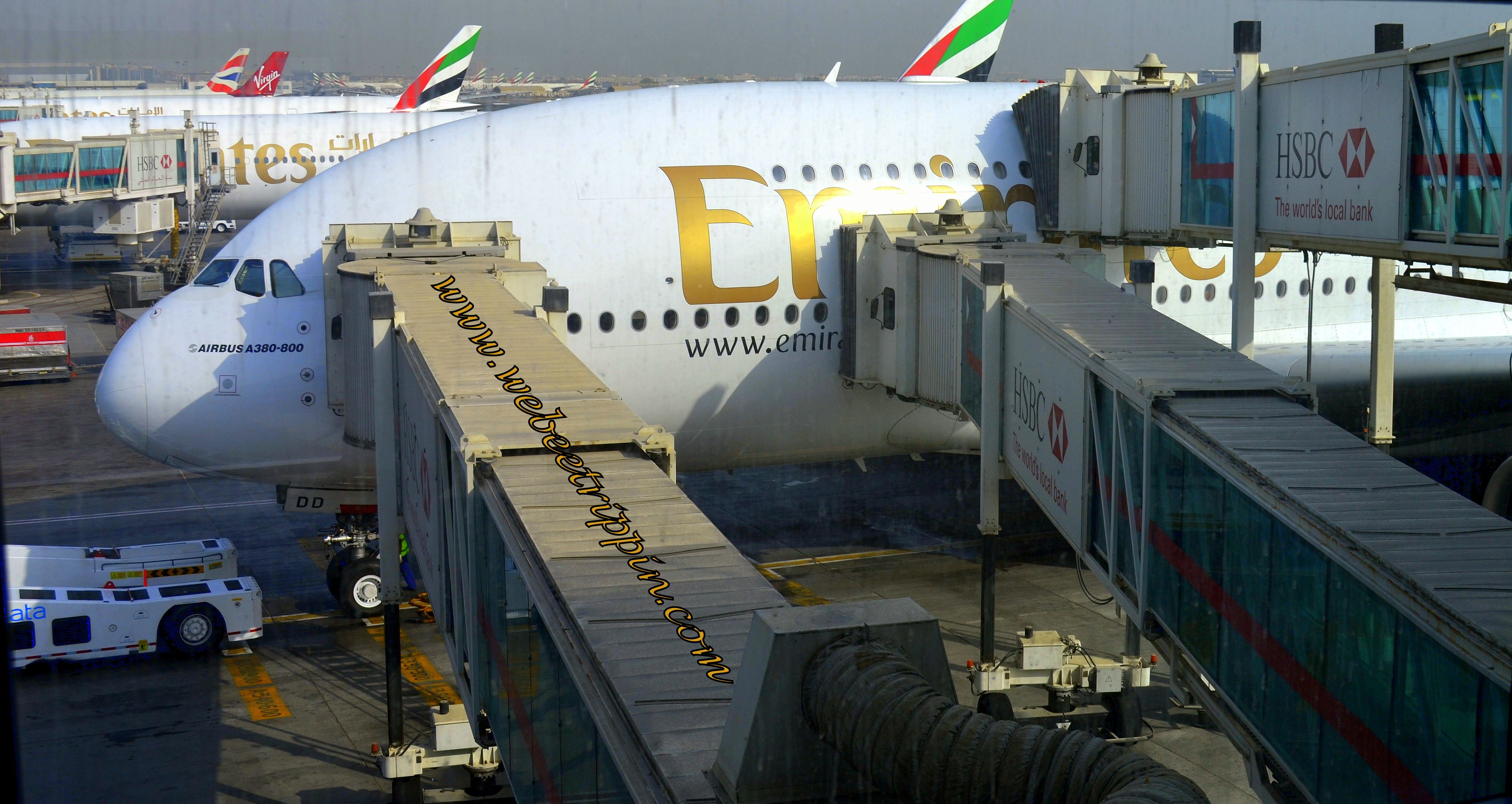Emirates Airlines Double Decker Airbus 380 800 Preparing For Departure From Dubai It S 497 Seating Capacity Is Fully Loaded With Comfort Amenities In All Clas
