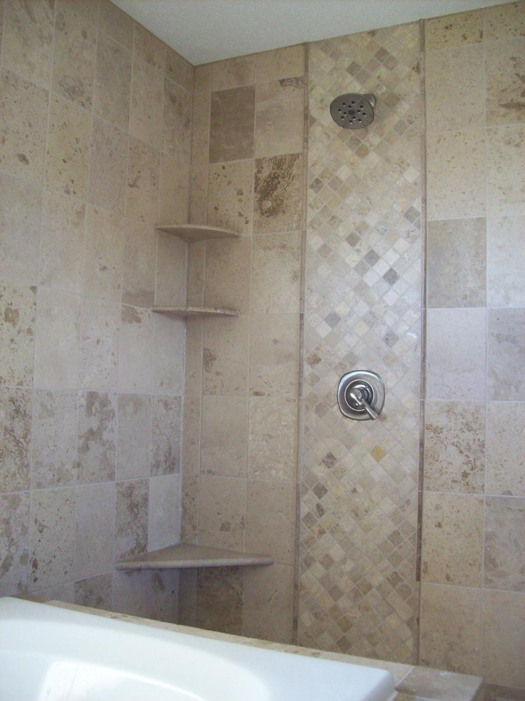 Elegant Bathroom Tile Ideas For Shower Walls With Brown Herringbone ...
