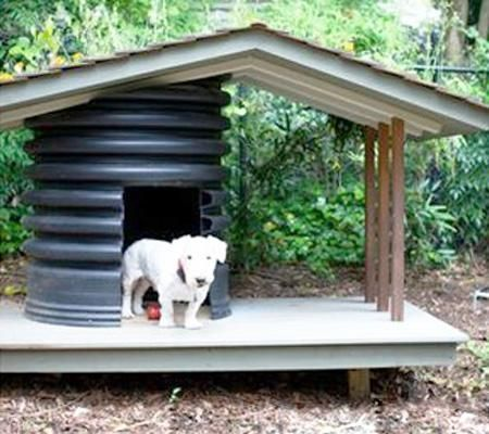 how to make a doghouse out of a barrel