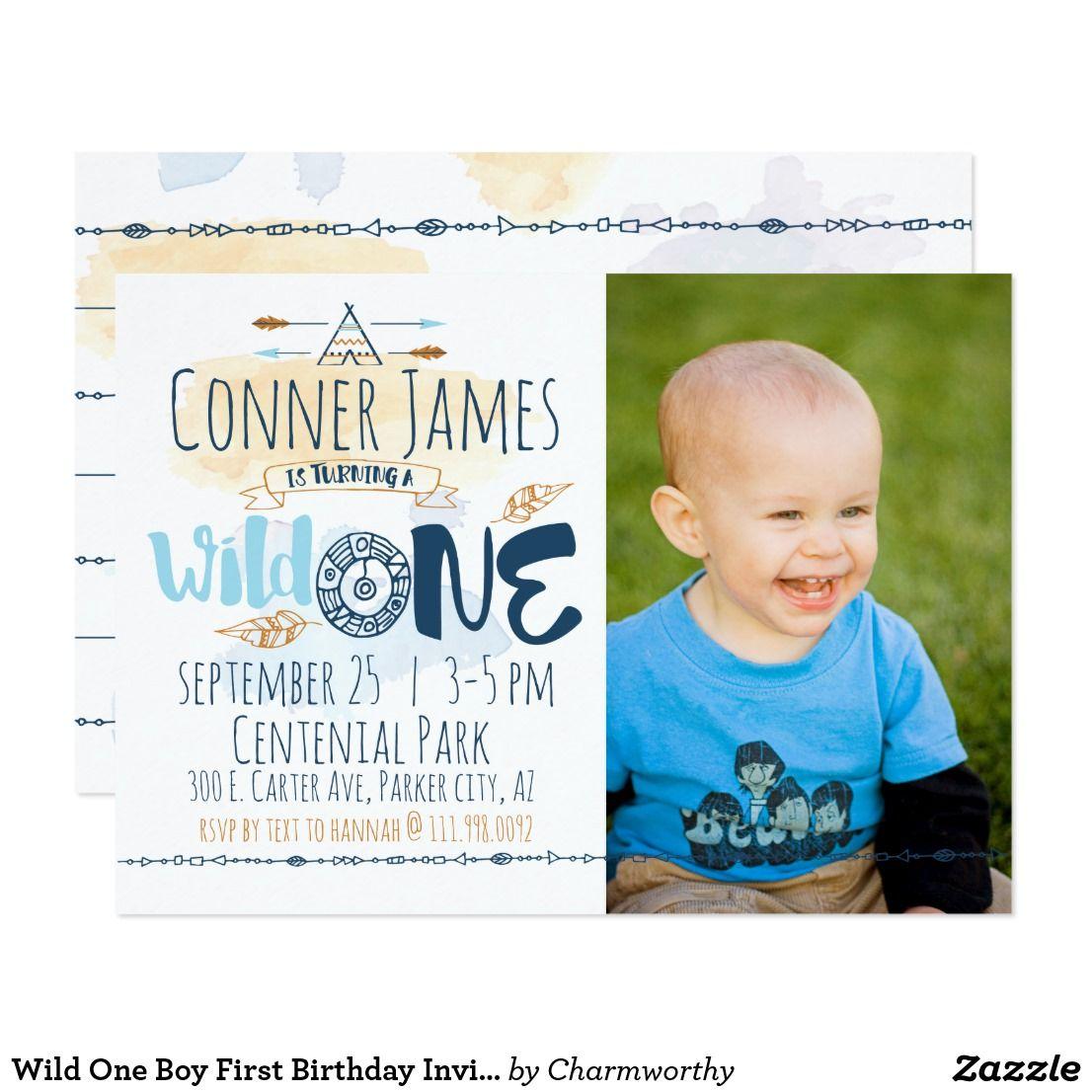 Wild One Boy First Birthday Invitation   Invitation cards ...