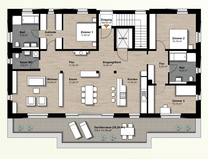 bildergebnis f r grundriss penthouse d a c h pinterest haus grundriss haus und grundriss. Black Bedroom Furniture Sets. Home Design Ideas
