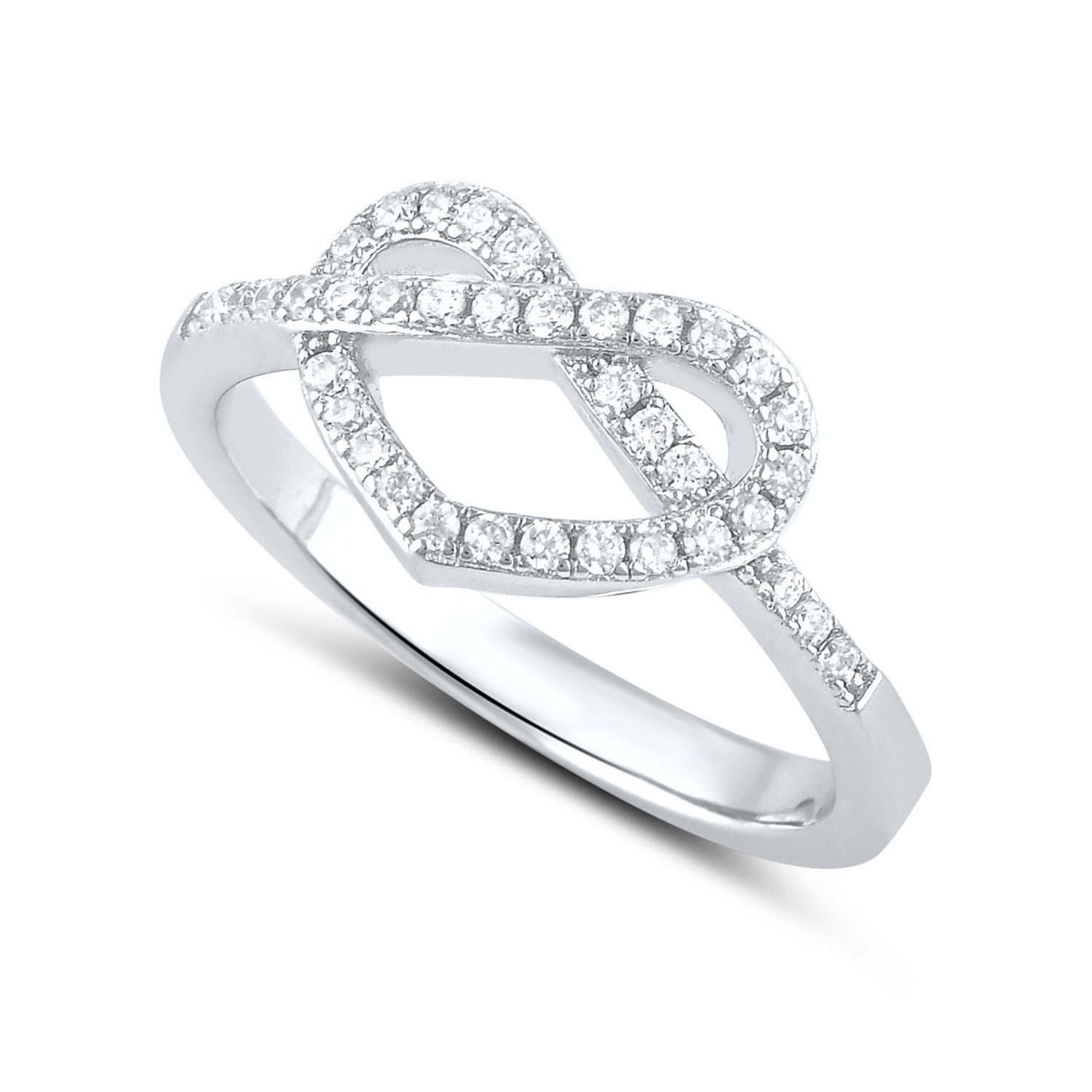 knot everlon ring sterling diamond silver in