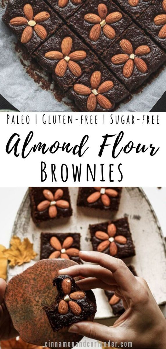 Paleo Almond Flour Brownies These fudgy paleo almond flour brownies are simply the best: rich, fudgy and dense. They're quick and easy to make! Made with almond and coconut flour, maple syrup, dark chocolate and natural cocoa powder, they're gluten-free, grain-free, and dairy-free, as well as refined sugar-free. They're topped with toasted almonds to add a crunchy element to these rich, delicious paleo brownies.