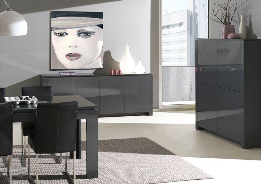 Buffet bahut gris anthracite laqué 4 portes design BUDD | Table à ...