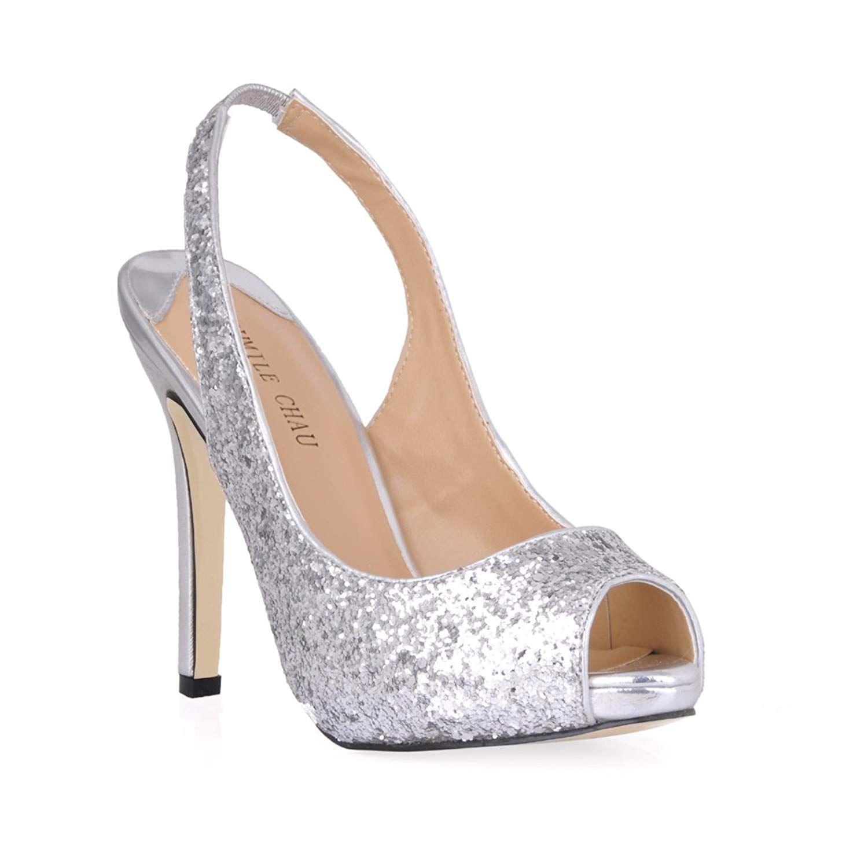 d27d44e79172 CHMILE CHAU Women Glitter Dress Pumps Sexy Stiletto High Heels Peep Toe  Sling Back Ladies Shoes