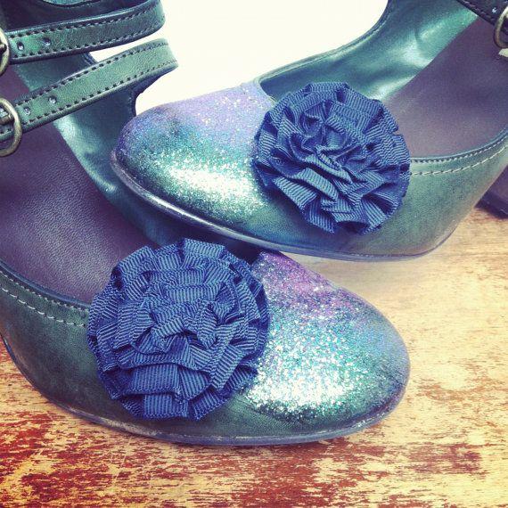 Adorable Vintage Navy Blue Shoe Clips. $12.00, via Etsy.