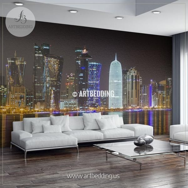 Night Scene Of Doha In Qatar Wall Mural Qatar Photo Mural