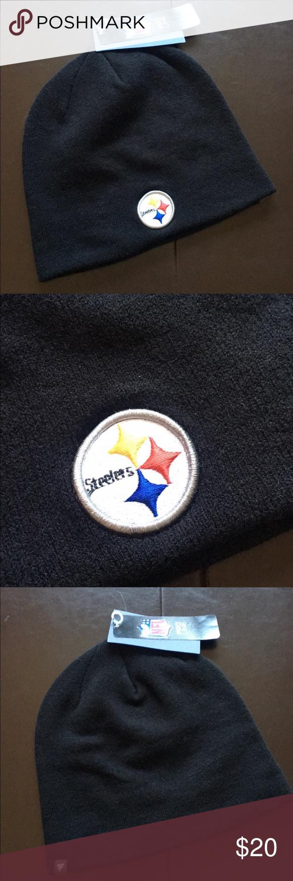 Pittsburgh Steelers Black Logo Beanie Hat NWT Black logo