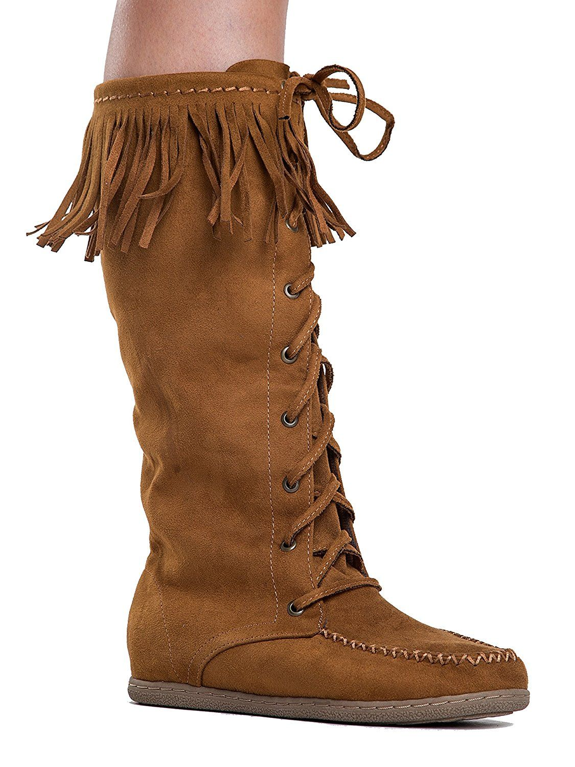 4b65424a641b Vinery Knee High Fringe Lace Up Moccasin Flat Boots Boots Clothing, Shoes &  Accessories