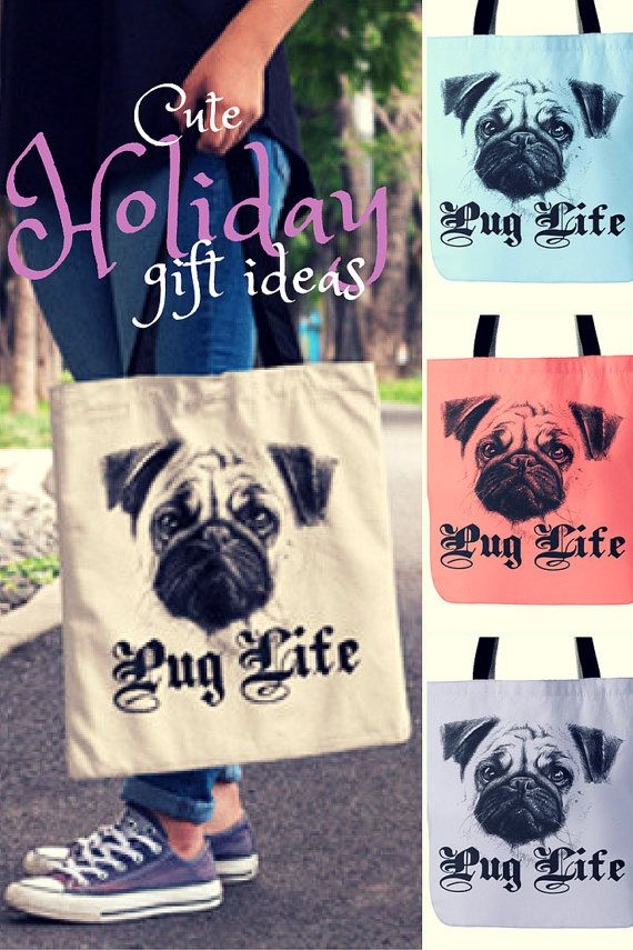 Funny Pug Bag - #PugLife Tote Bag  We love the new Pug tote bag. These custom totes are made from durable tightly woven fabric which means that it's much stronger and it can handle whatever you throw in it. #nktees #accessories #totebag #pugs