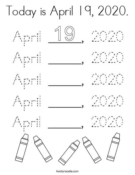 Today is April 19, 2020 Coloring Page - Twisty Noodle in ...