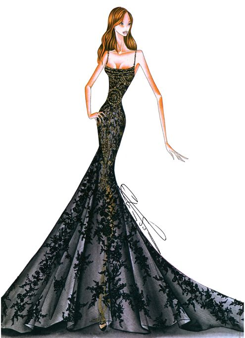 Elie saab sketches bocetos vestidos fashion sketches - Diseno alta costura ...