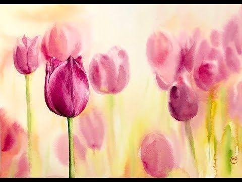 Tulips In Watercolors Painting Tutorial Youtube Wasserfarben