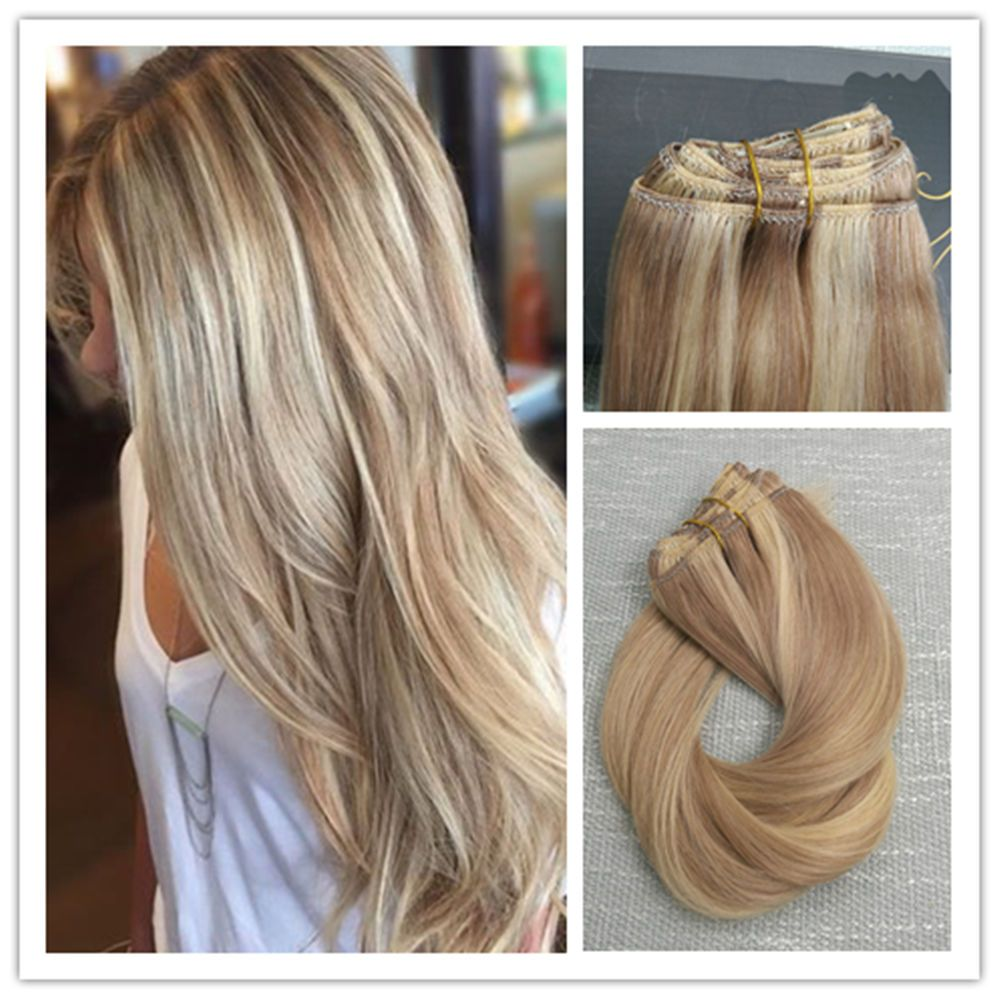 6a Balayage Blonde Highlighted Remy Ombre Thick Clip In Human Hair