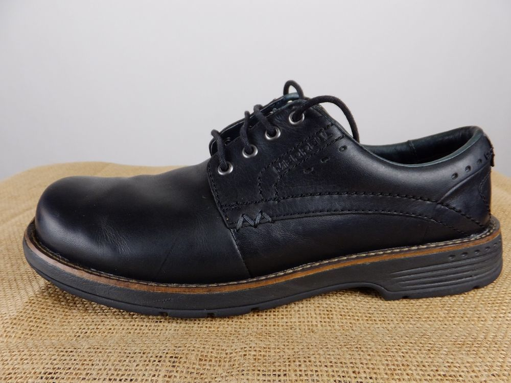 8ac965049ac8 MERRELL Realm Lace Up Oxford Black Leather Shoe Men 8.5 EU 42  Merrell   Oxfords