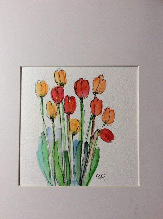 Spring Tulips Watercolor Card Hand Painted Watercolor Card