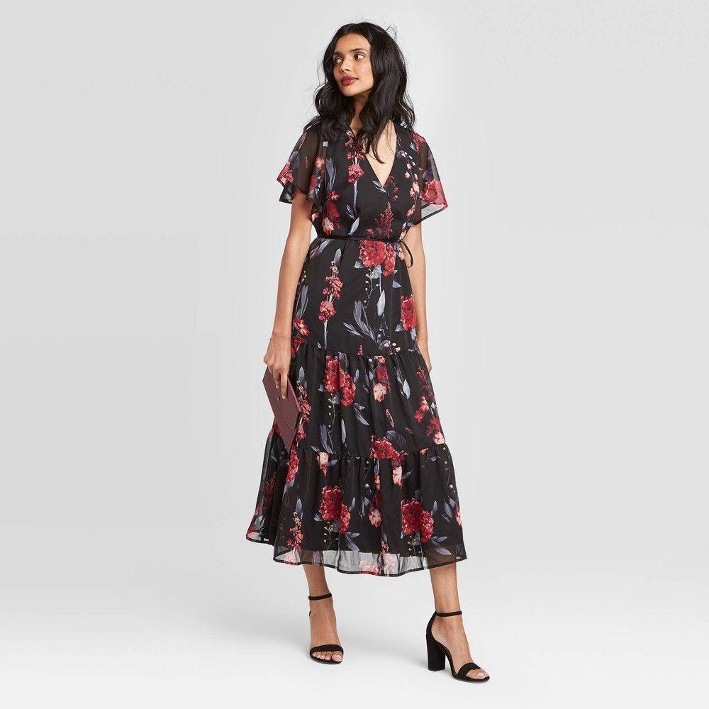 Women S Floral Print Flutter Short Sleeve V Neck Maxi Dress A New Day Black Xs Women S Black Short Sleeve Dress Cheap Bodycon Dress Dresses [ 1000 x 1000 Pixel ]