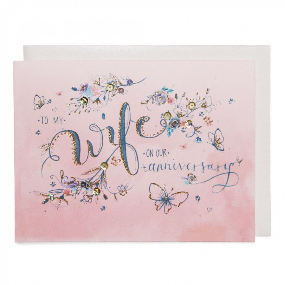 Pink Ombre Wife Anniversary Card Watercolor Pinterest