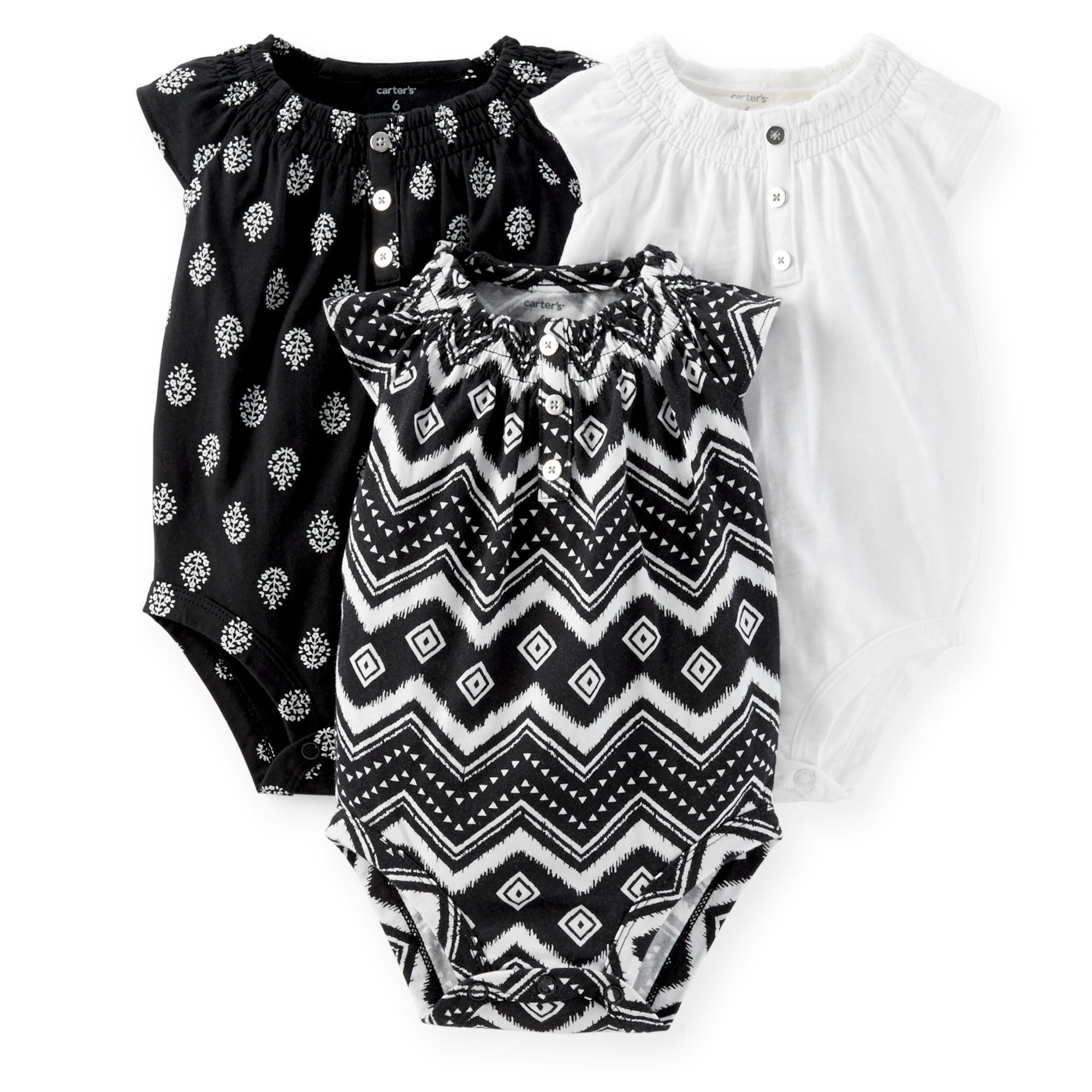 3 Pack Ruffle Sleeve Bodysuits Carters black and white