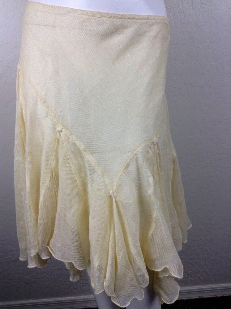 MAX STUDIO Handmade Ivory skirt Peasant Boho Asymmetrical Linen cotton Small #maxstudio #Asymmetrical