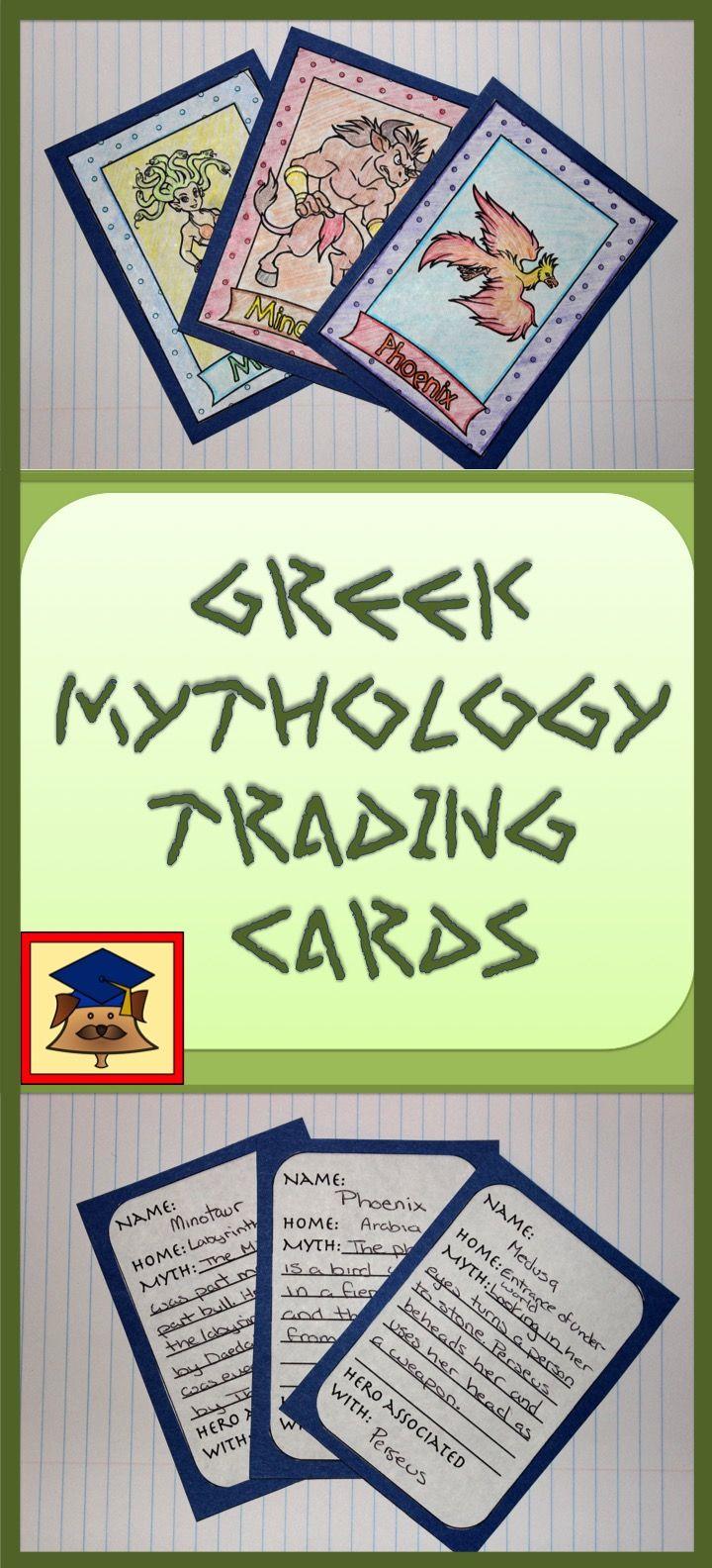 Greek Mythological Creatures Trading Cards Greek Mythology Lessons Greek Mythological Creatures Greek Mythology