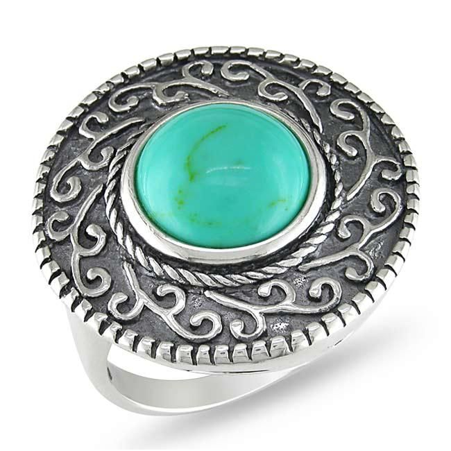 <li>Turquoise cocktail ring</li><li>Sterling silver jewelry</li><li><a href='http://www.overstock.com/downloads/pdf/2010_RingSizing.pdf'><span class='links'>Click here for ring sizing guide</span></a></li>