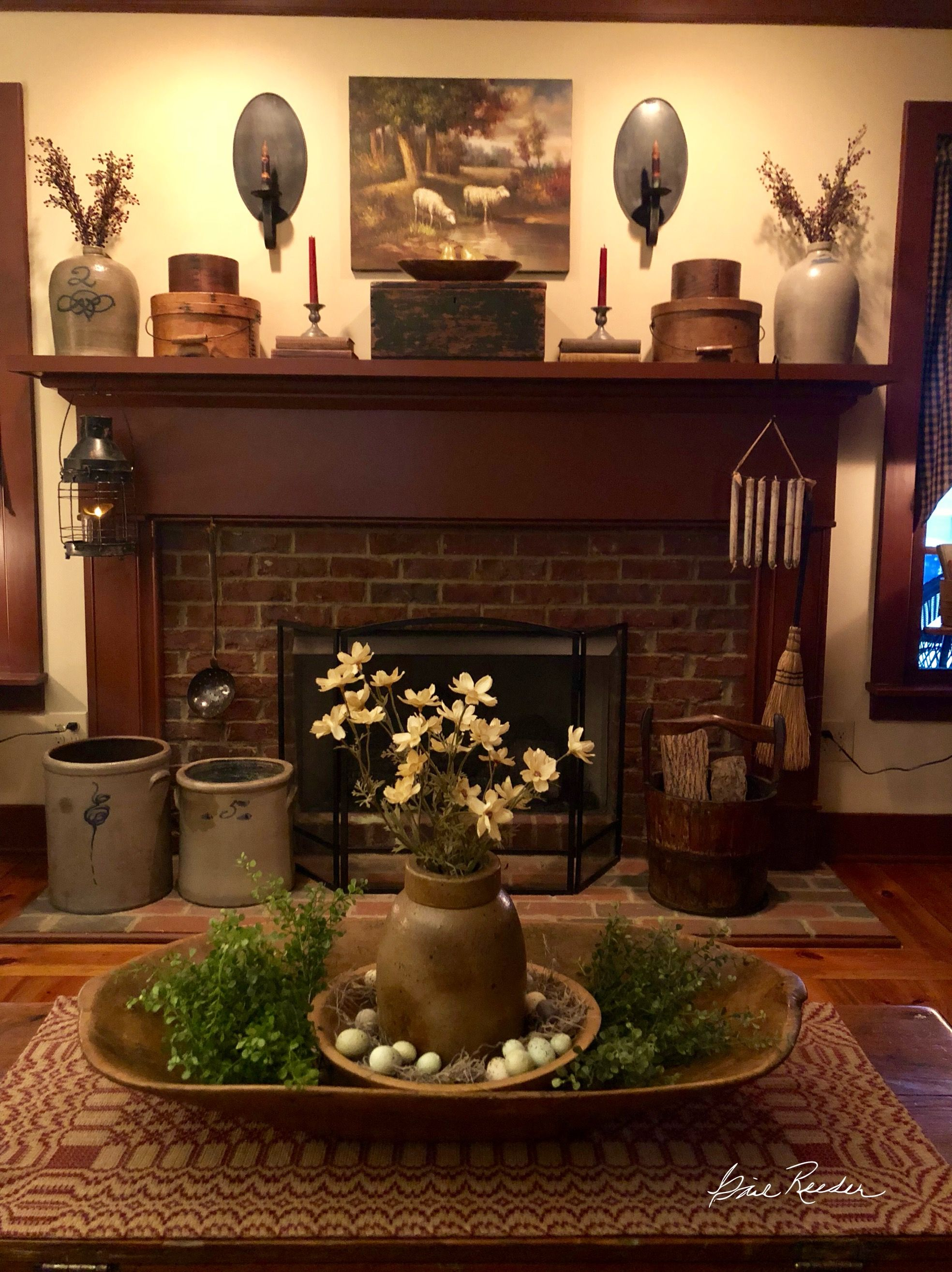 primitive mantle decor on pin by kim case on spring decor 2018 primitive decorating country primitive decorating primitive coffee table primitive decorating