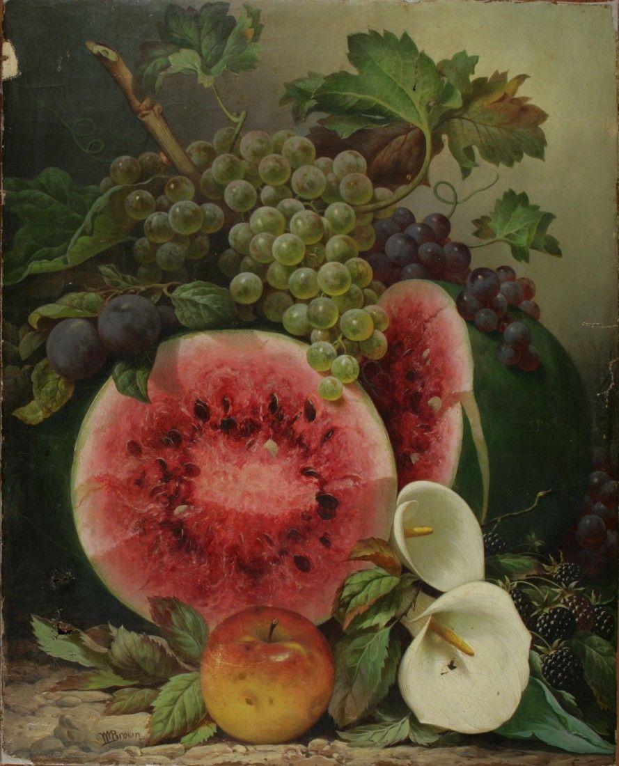 William Mason Brown (American, 1828-1898). Still life with watermelon, fruit and calla lillies