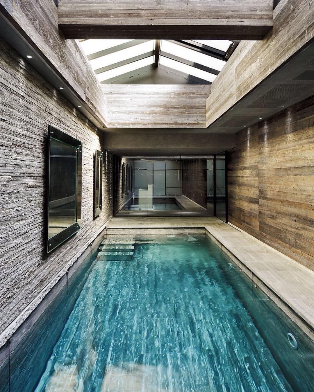 Indoor Swimming Pool Designs: LIke The Pool Tile And Concept (or Though Would Probably