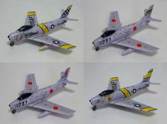 north american f86f sabre fighter free aircraft paper