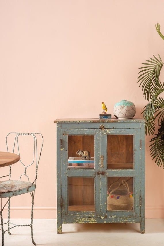 Photo of Vintage Grey Distressed Wooden Cabinet