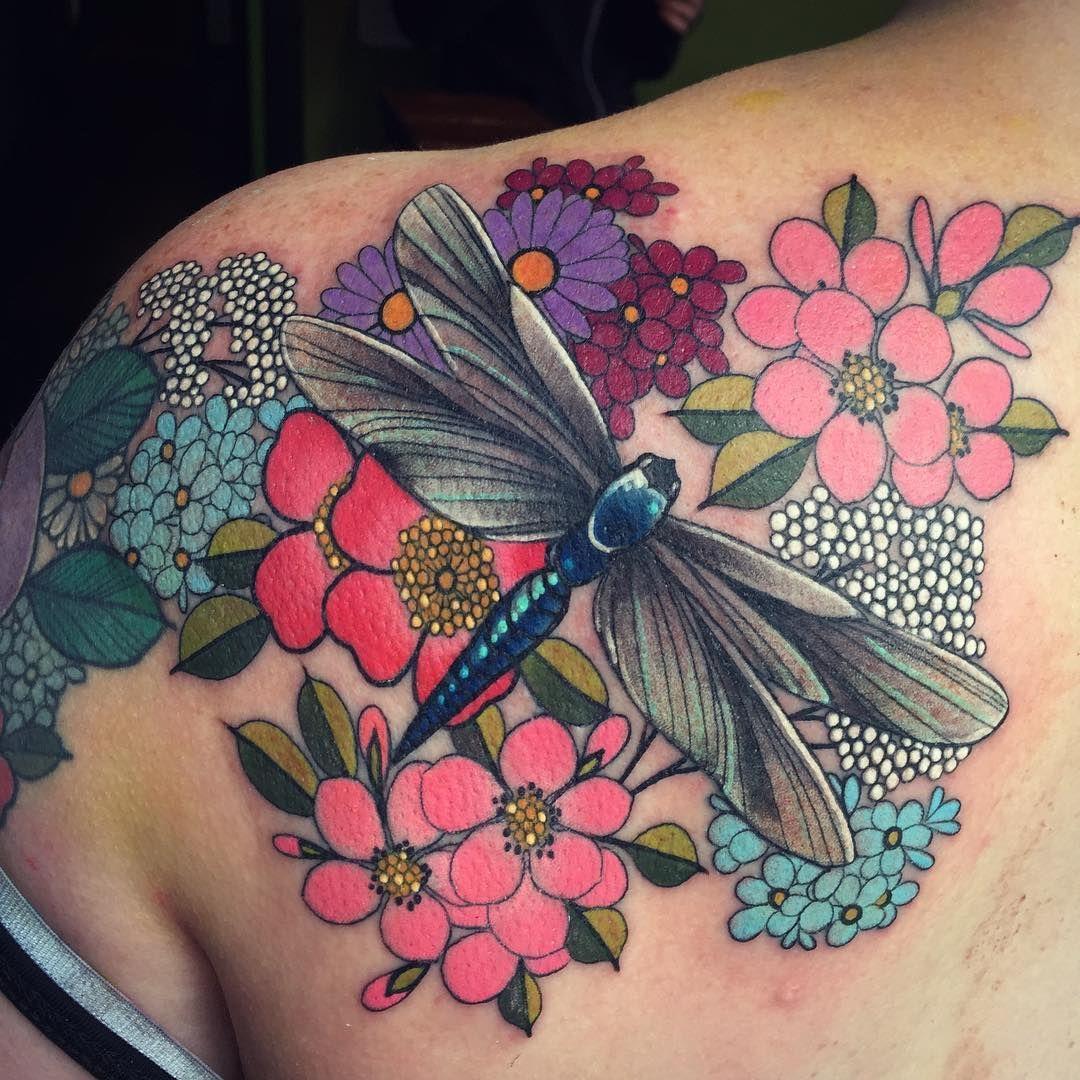 Dragonfly tattoo floral tattoo flowery tattoo by