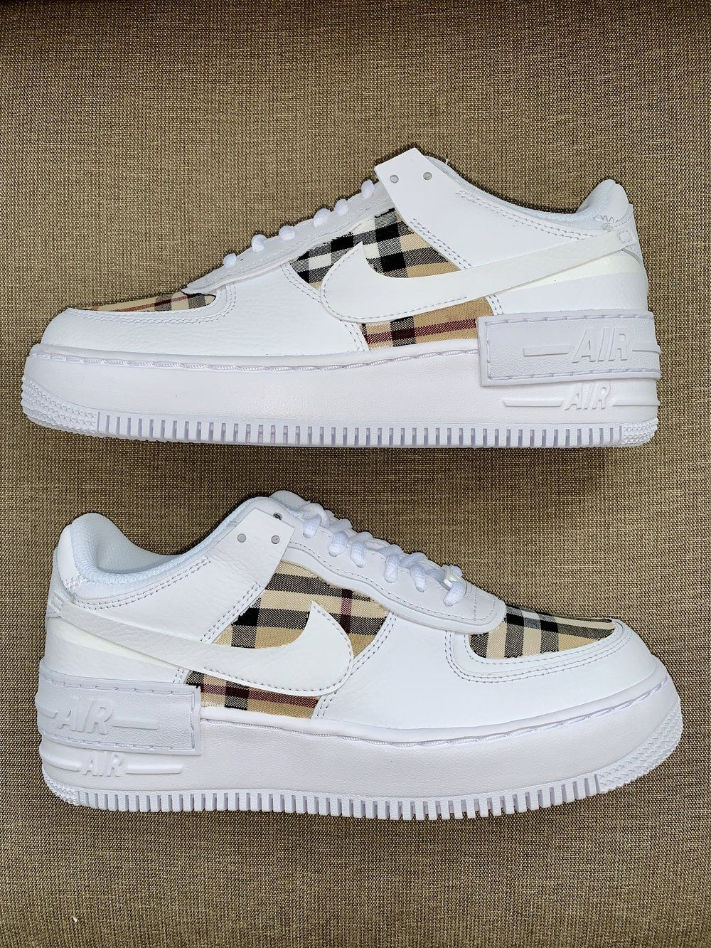 Burberry AF1s Shadow White in 2020 Nike air shoes, Hype