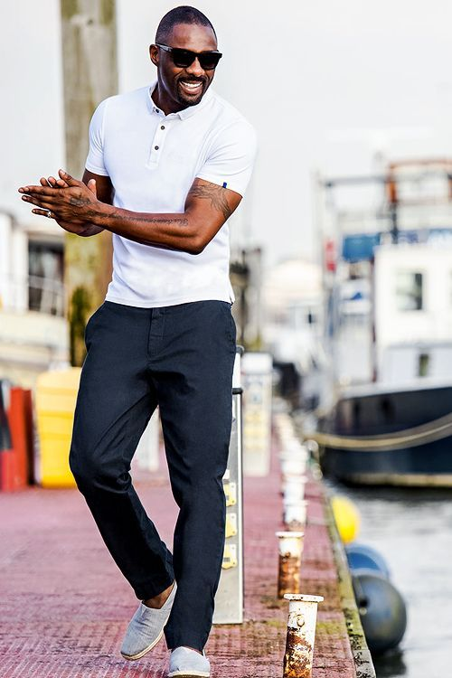 373119df5be 20 navy pants, white moccasins and a white polo shirt - Styleoholic ...