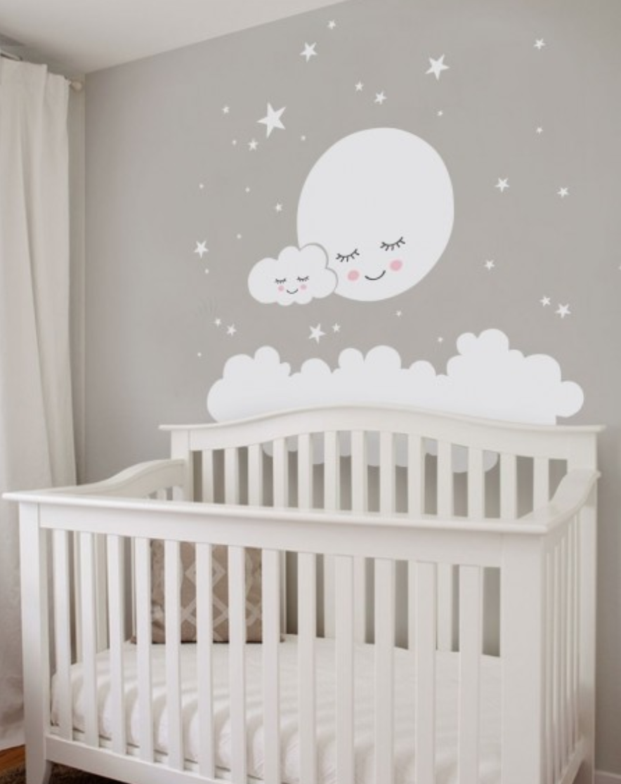 Baby Boy Bedroom Wall Stickers: Moon, Clouds, And Stars Wall Decal